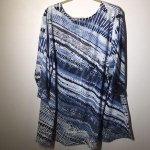 CJ Banks Knit Burnout Tunic w/Sequins/Navy Print